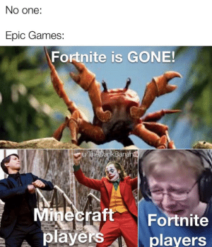 At long last, Minecraft good, fortnite bad has ended: No one:  Epic Games:  Fortnite is GONE!  u/TheDankBanana  Minecraft  players  Fortnite  players At long last, Minecraft good, fortnite bad has ended