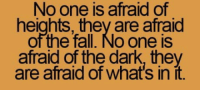"""Club, Fall, and Tumblr: No one is afraid of  heights, they are afraid  of the fall. No one is  afraid of the dark, they  are afraid of what's in it. <p><a href=""""http://laughoutloud-club.tumblr.com/post/170237433724/fear-of-the-unknown"""" class=""""tumblr_blog"""">laughoutloud-club</a>:</p>  <blockquote><p>Fear of the unknown</p></blockquote>"""