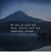 One, Youre, and Just: No one is ever too  busy. You're just not  important enough.
