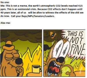 "Alive, Meme, and Shit: No one:  Me: This is not a meme, the earth's atmospheric CO2 levels reached 415  ppm. This is an existensial crisis. Because CO2 effects don't happen until  40 years later, all of us will be alive to witness the effects of the shit we  do now. Call your Reps/MPs/Senators/Leaders.  Also me:  THIS IS  WoT  FINE newtonpermetersquare:  ""Everything Is Fine"""