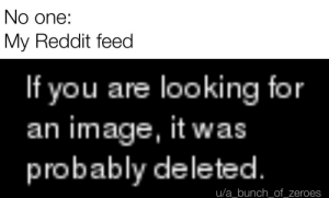 Reddit, Image, and Dank Memes: No one:  My Reddit feed  If you are looking for  an image, it was  probably deleted.  u/a_bunch_of_zeroes Mods gay