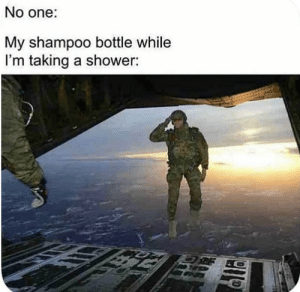 Shower, One, and Shampoo: No one:  My shampoo bottle while  I'm taking a shower: So long partner
