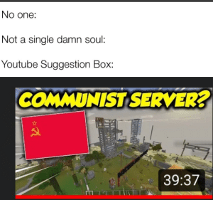 Lets hope those people have stockpiled some food: No one:  Not a single damn soul:  Youtube Suggestion Box:  COMMUNIST SERVER?  39:37 Lets hope those people have stockpiled some food