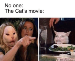 This meme says it all: No one:  The Cat's movie:  H This meme says it all