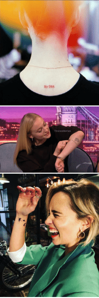 Game of Thrones, Game, and Tattoo: No One.   ThronesMemes Maisie, Sophie and now Emilia has a Game of Thrones tattoo! https://t.co/wByZxXbLOk