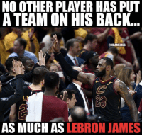 LeBron James, Lebron, and Say Anything...: NO OTHER PLAYER HAS PUT  A TEAM ON HIS BACK  @NBAMEMES  AS MUCH AS LEBRON JAMES Haters can't say anything about LeBron James now. https://t.co/a4XNCfmqTy