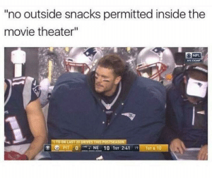 "Sneak snacks shake snakes by HeavenPotato MORE MEMES: no outside snacks permitted inside the  movie theater""  NFL  AFC CHAMP  TO ON LAST 20 DRIVES THIS POSTSEASON  Ole PIT'0'-NE 10 1st 2:41 191-1ST&10 Sneak snacks shake snakes by HeavenPotato MORE MEMES"