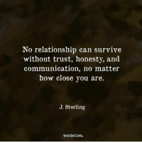 Honesty, How, and Can: No relationship can survive  without trust, honesty, and  communication, no matter  how close you are.  J. Sterling  wordables.