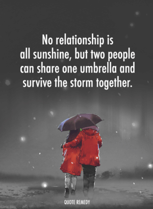 Memes, 🤖, and Quote: No relationship is  all sunshine, but two people  can share one umbrella and  survive the storm together.  QUOTE REMEDY