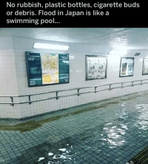 Found on reddit thought it was nice: No rubbish, plastic bottles, cigarette buds  or debris. Flood in Japan is Ilike a  swimming pool.. Found on reddit thought it was nice