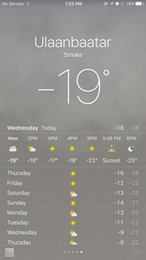 The capital of Mongolia, ulaanbaatar, is so polluted from people burning trash to stay warm, the weather forecast for today is smoke: No Service  1:23 PM  Ulaanbaatar  Smoke  -19  Wednesday Today  -18 -28  Now 2PM 3PM 4PM5PM 5:06 PM 6PM  -19° -18 -17 -19 -23° Sunset -25°  Thursday  Friday  Saturday  Sunday  Monday  Tuesday  Wednesday  Thursdav  -16 -28  -12 -22  -13 -23  14 -27  -13 -22  11 -22  -9 -22 The capital of Mongolia, ulaanbaatar, is so polluted from people burning trash to stay warm, the weather forecast for today is smoke