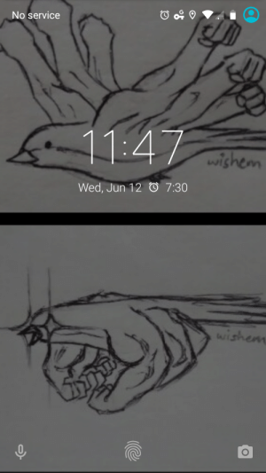Lock, Service, and Nobody: No service  11:47  wishem  Wed, Jun 12 7:30  Wishem Nobody asked, but here's my lock screen.
