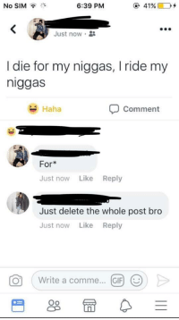 30-minute-memes:  Loyal to The End: No SIM  6:39 PM  @ 41%(TO+  Just now .  I die for my niggas, I ride my  niggas  Haha  Comment  For*  Just now Like Reply  Just delete the whole post bro  Just now Like Reply  。( Write a comme  (GIF) @  Oo 30-minute-memes:  Loyal to The End