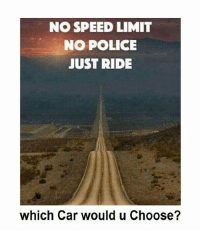 Cars, Memes, and Police: NO SPEED LIMIT  NO POLICE  JUST RIDE  which Car would u Choose?