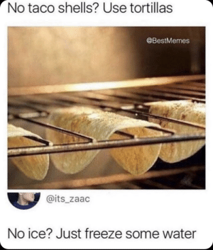 Dank, Memes, and Target: No taco shells? Use tortillas  @BestMemes  @its_zaac  No ice? Just freeze some water No toast? Just toast some bread. by Summy1XD MORE MEMES
