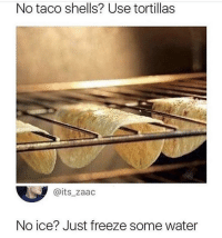 Tumblr, Blog, and Water: No taco shells? Use tortillas  @its_zaac  No ice? Just freeze some water memecage:  No liquor? Just use whiskey.