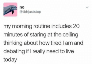 35 Funny Tweets That'll Remind You To Live A Little - Memebase - Funny Memes: no  @tbhjuststop  my morning routine includes 20  minutes of staring at the ceiling  thinking about how tired I am and  debating if I really need to live  today 35 Funny Tweets That'll Remind You To Live A Little - Memebase - Funny Memes