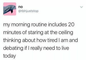 Meirl: no  @tbhjuststop  my morning routine includes 20  minutes of staring at the ceiling  thinking about how tired I am and  debating if I really need to live  today Meirl