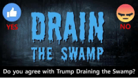 Type YES or NO, then post on your timeline.: NO  THE SWAMP  Do you agree with Trump Draining the Swamp? Type YES or NO, then post on your timeline.