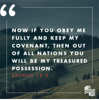 Bible, Exodus, and Sunday: NO W IF YOU O BEY ME  FULLY AND KEEP MY  COVENANT, THEN OUT  OF ALL NATION S YOU  WILL BE MY TREASURED  POSSESSION  EXODUS 19:5 Here is your Sunday Bible verse: