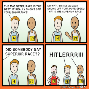 Dogs, Best, and Superior: NO WAY, 100 METER DASH  SHOWS OFF YOUR PURE SPEED  THAT'S THE SUPERIOR RACE!  THE 1500 METER RACE IS THE  BEST. IT REALLY SHOWS OF  YOUR ENDURANCE!  /  41  17  17  DID SOMEBODY SAY  SUPERIOR RACE??  HITLERRR!!!  17  3  17  DOGS on the 4th  01 Fast and Fuhrerious