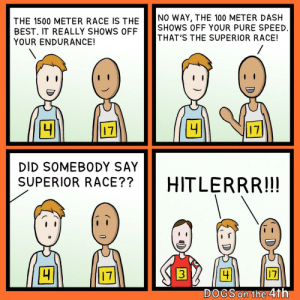 Dogs, Best, and Superior: NO WAY, THE 100 METER DASH  SHOWS OFF YOUR PURE SPEED  THAT'S THE SUPERIOR RACE!  THE 1500 METER RACE IS THE  BEST. IT REALLY SHOWS OFF  YOUR ENDURANCE!  4  4  17  17  DID SOMEBODY SAY  SUPERIOR RACE??  HITLERRR!!!  17  4  17  DOGS on the 4th  DE Fast and Fuhrerious (oc)