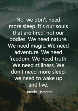 Bodies , Memes, and Live: No, we don't need  more sleep. It's our souls  that are tired, not our  bodies. We need nature.  We need magic. We need  adventure. We need  freedom. We need truth.  We need stillness. We  don't need more sleep,  we need to wake up  and live.  Brooke Hampton <3