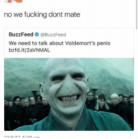 ✌🏻👀: no we fucking dont mate  BuzzFeed  @BuzzFeed  We need to talk about Voldemort's penis  bzfd.it/2avhMAL ✌🏻👀