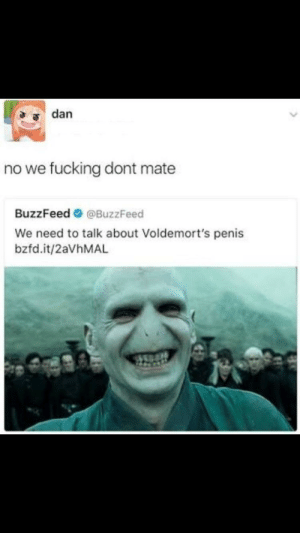 Dank, Fucking, and Memes: no we fucking dont mate  BuzzFeed @BuzzFeed  We need to talk about Voldemort's penis  bzfd.it/2aVhMAL Me irl by Fifealo MORE MEMES