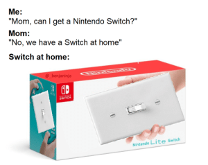 "Nintendo, Home, and Mom: ""No, we have a Switch at home""  SWTCK  Nintendo Lite Switch  @_benjaninja  SWITCH  ""Mom, can I get a Nintendo Switch?""  Me:  Mom:  ENDO  Switch at home: This turns me on"