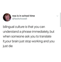 Funny Memes. Updated Daily! ⇢ FunnyJoke.tumblr.com 😀: noa is in school time  @fasitohowell  bilingual culture is that you can  understand a phrase immediately, but  when someone ask you to translate  It,your brain just stop working and you  just die Funny Memes. Updated Daily! ⇢ FunnyJoke.tumblr.com 😀