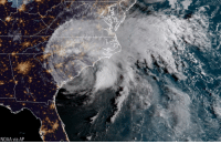 Memes, Image, and United: NOAA via AP This satellite image provided by NOAA shows Florence on the eastern coast of the United States early Saturday.