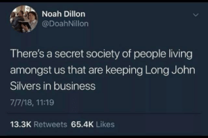 Noah, Business, and Living: Noah Dillon  @DoahNillon  There's a secret society of people living  amongst us that are keeping Long John  Silvers in business  7/7/18, 11:19  13.3K Retweets 65.4K Likes Me🐟irl