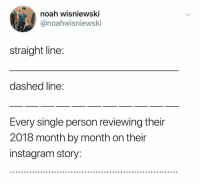 Noah, Dank Memes, and Single: noah wisniewsKI  @noahwisniewski  straight line  dashed line  Every single person reviewing their  2018 month by month on their  instaaram story: @noah_wisniewski