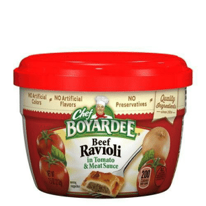 Bailey Jay, Beef, and Sauce: NOArtificial NO Artificial  Colors  NO Qualit  Preservatives  Flavors  BOYARDER  Ravioli  Beef  ее  in Tomato  & Meat Sauce  200 Blueprints for a makeshift Italian landmine, 1943