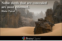 Memes, 🤖, and Quote: Noble deeds that are concealed  are most esteemed.  Blaise Pascal  Brainy  Quote Noble deeds that are concealed are most esteemed. - Blaise Pascal