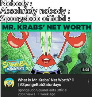 Memes, Minecraft, and Mr. Krabs: Nobody  Absolutely mobody  Spongebob official  MR.KRABS' NET WORTH  SPONSEBO  SQUAREPANTS  5:05  What is Mr. Krabs' Net Worth?  #SpongeBobSaturdays  SpongeBob Square Pants Official  206K views 1 week ago Take a rest from Minecraft memes here