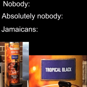 Titles are hard: Nobody:  Absolutely nobody:  Jamaicans:  |*Freshly Brewed  ICED TEA  TROPICAL BLACK  TROPICAL BLACK  POUR OVER ICE  ENJOY. Titles are hard