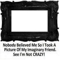 im not crazy: Nobody Believed Me SoITook A  Picture Of My Imaginary Friend.  See I'm Not CRAZY!