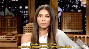 "Are you as excited as we are to see Spider-Man: Far From Home? Zendaya discusses her role as Michelle Jones ""MJ"" in the film!: Nobody believes me, though  that that's my characters name, but it reallyis Michelle, Are you as excited as we are to see Spider-Man: Far From Home? Zendaya discusses her role as Michelle Jones ""MJ"" in the film!"