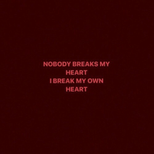 Break, Heart, and Own: NOBODY BREAKS MY  HEART  I BREAK MY OWN  HEART