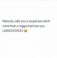 Ass, Bitch, and Love: Nobody calls you a stupid ass bitch  more than a nigga that love you  LMAOOOOOO swear 😂😭