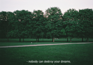 Dreams, Can, and Nobody: nobody can destroy your dreams.
