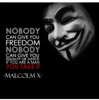 Freedom: NOBODY  CAN GIVE YOU  FREEDOM  NOBODY  CAN GIVE YOU  EQUALITY OR JUSTICE  IF YOU ARE A MAN  YOU TAKE IT  MALCOLM X-