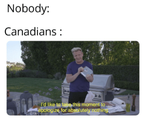 Reddit, Cool, and Being There: Nobody:  Canadians  I'd like to take this moment to  apologize for absolutely nothing Special thanks to our Canadians bros for being there and always being cool
