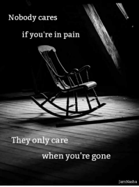 ~JamNasha: Nobody cares  if you're in pain  They only care  when you're gone  JamNasha ~JamNasha