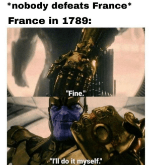 "Memes, Work, and France: *nobody defeats France*  France in 1789:  ""Fine.""  ""TIl do it myself. Collection of memes I printed and brought to work"