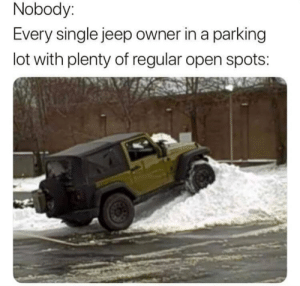 It's a Jeep thing: Nobody:  Every single jeep owner in a parking  lot with plenty of regular open spots: It's a Jeep thing