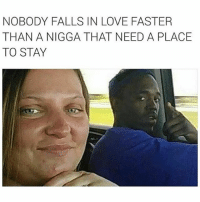 Instagram, Love, and Memes: NOBODY FALLS IN LOVE FASTER  THAN A NIGGA THAT NEED A PLACE  TO STAY @mememanmyles has got to be my favorite account on instagram 😂🔥