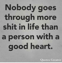 Life, Memes, and Shit: Nobody goes  through more  shit in life than  a person witha  good heart.  Quotes Creator Via: @quotescreator